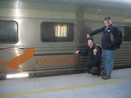 Mike and Dale boarding the Indian Pacific, Adelaide.