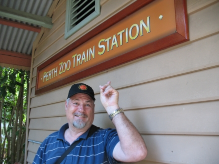 Mike found the Perth Zoo sign, but no train in sight!