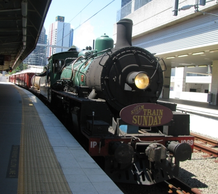 Steam train arriving at Roma Station.