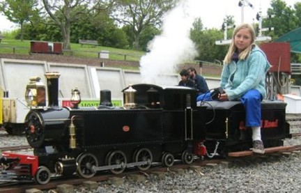 Savanna and her electric steam train.