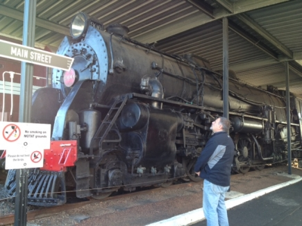 Mike looking at the black loco.