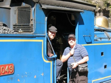 Mike Hartle with the loco driver.